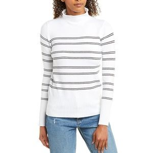 French Connection Mock Neck Striped Sweater L